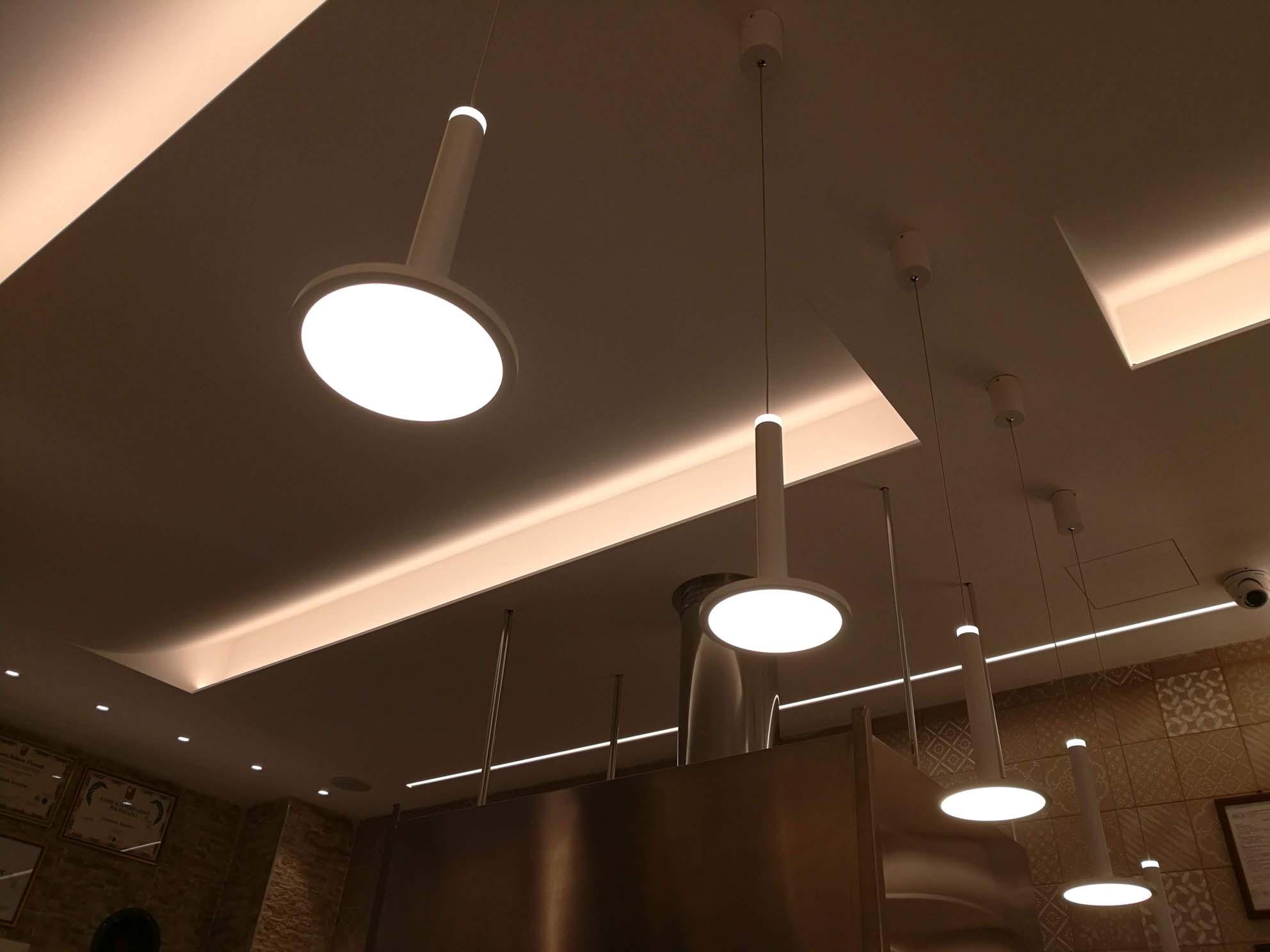 Lampade Per Porticati Esterni locale commerciale, pizzeria progettazione illuminotecnica